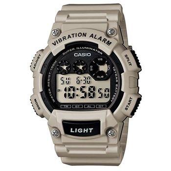 【CASIO】 超亮LED強悍震動數位運動錶-淺灰( W-735H-8A2)