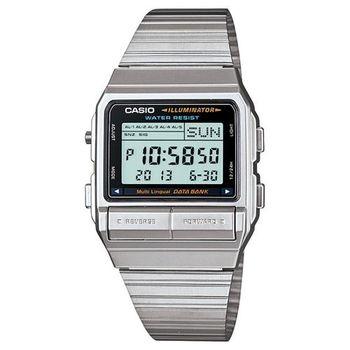 【CASIO】 DATABANK 電話記錄經典商務數位錶-銀 (DB-380-1)