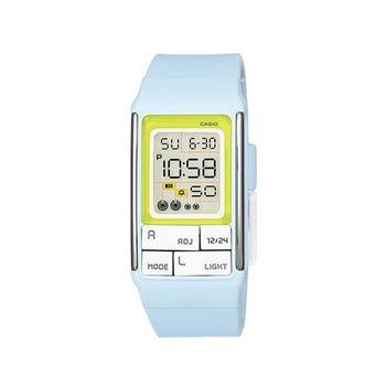 【CASIO】 太空漫步幾何方塊數位錶-粉藍 (LDF-51-2A)