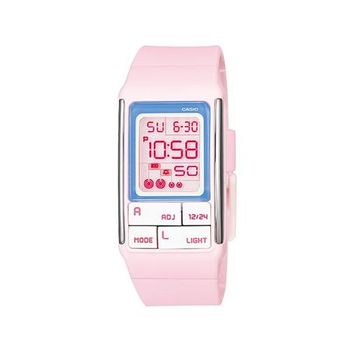【CASIO】 太空漫步幾何方塊數位錶-粉紅 (LDF-51-4A)