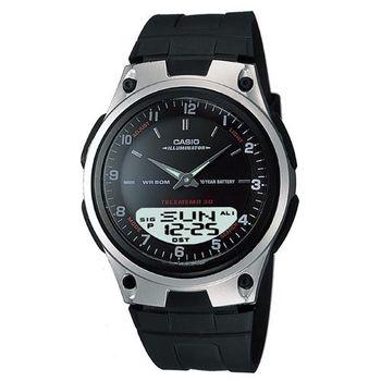 【CASIO】 都會時尚雙顯腕錶-黑 (AW-80-1A)