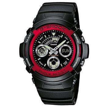 【CASIO】G-SHOCK 極速先鋒運動雙顯錶-紅圈 (AW-591-4A)