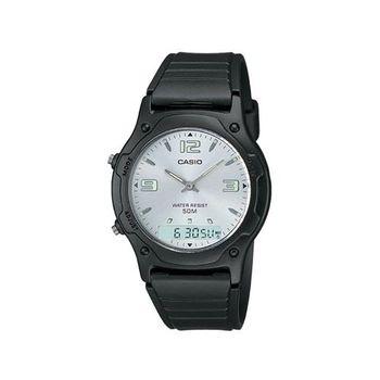 【CASIO】 超時玩家雙顯指針錶-白面 (AW-49HE-7A)
