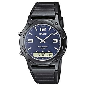 【CASIO】 超時玩家雙顯指針錶-藍面 (AW-49HE-2A)