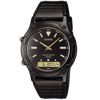 【CASIO】 超時玩家雙顯羅馬指針錶-黑X金 (AW-49HE-1A)