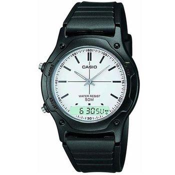 【CASIO】 超時玩家雙顯羅馬指針錶-白面 (AW-49H-7E)