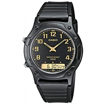 【CASIO】 超時玩家雙顯指針錶-黑X金 (AW-49H-1B)