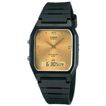 【CASIO】 經典復古風格商務雙顯錶-金面 (AW-48HE-9A)