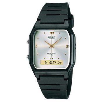 【CASIO】 潮流復古雙顯指針錶-白面 (AW-48HE-7A)