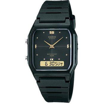 【CASIO】 復古潮流雙顯指針錶-黑 (AW-48HE-1A)