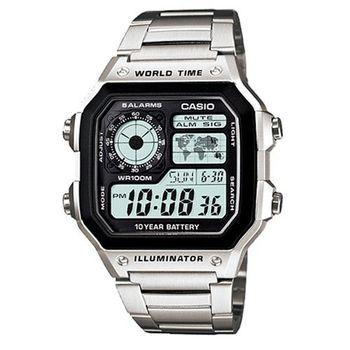 【CASIO】 十年電力世界地圖不鏽鋼雙顯錶 (AE-1200WHD-1A)