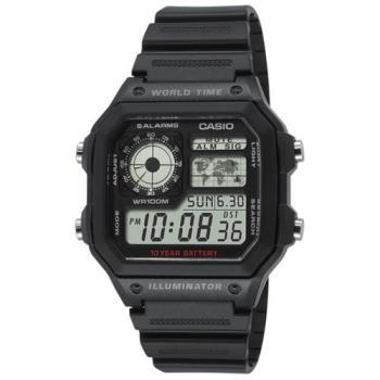 【CASIO】 十年電力世界地圖雙顯錶 (AE-1200WH-1A)