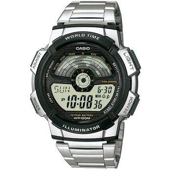 【CASIO】 戶外航空儀表版造型雙顯不鏽鋼錶 (AE-1100WD-1A)