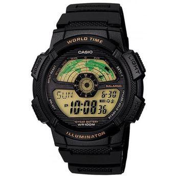【CASIO】 戶外航空儀表版造型雙顯錶 (AE-1100W-1B)