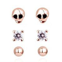【米蘭精品】玫瑰金純銀耳環鑲鑽耳飾骷顱造型時尚百搭73gt104