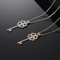 【米蘭精品】玫瑰金項鍊鑲鑽純銀吊墜時尚精緻鑰匙造型2色73dw126