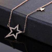 【米蘭精品】玫瑰金項鍊鑲鑽純銀吊墜時尚經典小星星精美2色73dw144