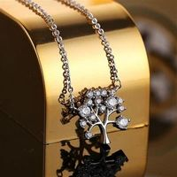 【米蘭精品】純銀項鍊鍍白金鑲鑽吊墜精美時尚小樹造型2色73dw152