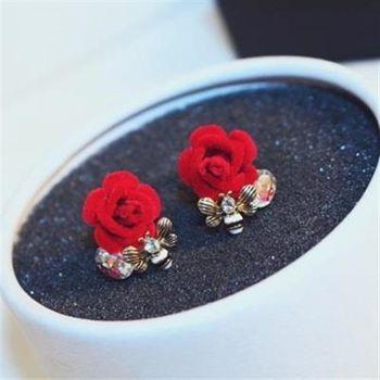 【米蘭精品】玫瑰金耳環鑲鑽純銀耳飾優美高貴花朵73ca250