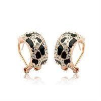 【米蘭精品】玫瑰金耳環鑲鑽純銀耳飾時尚百搭豹紋設計73gs111