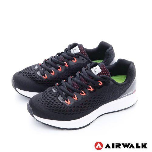 【美國 AIRWALK】有氧氣流 雙層網巢透氣超彈運動鞋-女-舒服黑