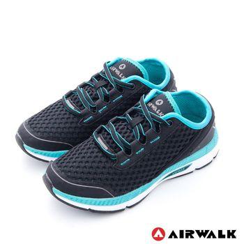 【美國 AIRWALK】輕勢力 雙層彈力網布透氣運動鞋-女-藍黑