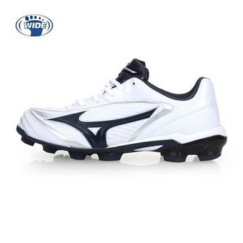【MIZUNO】SELECT 9 男女棒壘球鞋-WIDE-寬楦  棒球 壘球 美津濃 白丈青