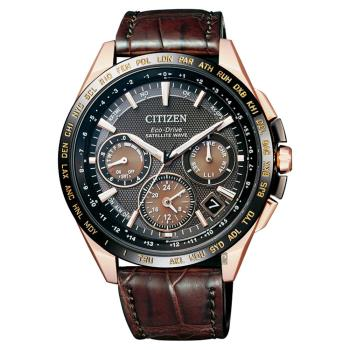 CITIZEN Eco-Drive 鈦 GPS衛星對時錶-玫瑰金框x咖啡/43mm CC9016-01E