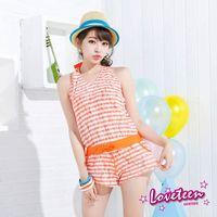 【LOVETEEN夏之戀】 亮麗條紋連身褲三件式泳衣A15718