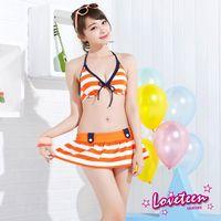 【LOVETEEN夏之戀】亮麗條紋比基尼三件式泳衣A15719