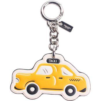【COACH】時尚精緻TAXI造型圓形扣環掛飾/鑰匙圈(黃)
