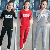 【A3】時尚韓風-薄款顯瘦兩件套裝休閒運動服(紅色/灰色/黑色)M-XL