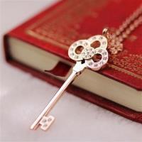 【米蘭精品】玫瑰金項鍊鑲鑽純銀吊墜精緻鑰匙時尚71x44