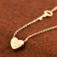 【米蘭精品】玫瑰金項鍊純銀吊墜愛心鑰匙精選時尚71x70