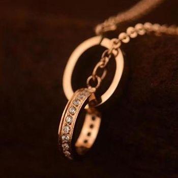 米蘭精品玫瑰金項鍊鑲鑽雙環純銀吊墜玫瑰金項鍊