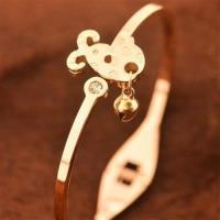 【米蘭精品】玫瑰金純銀手環鑲鑽手鍊時尚鈴鐺山羊流行71ap56