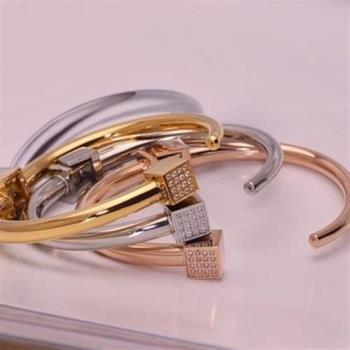 【米蘭精品】玫瑰金純銀手環鑲鑽手鍊時尚流行簡約方塊3色71ap61