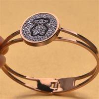 【米蘭精品】玫瑰金純銀手環鑲鑽手鍊圓框小熊可愛時尚71ap78