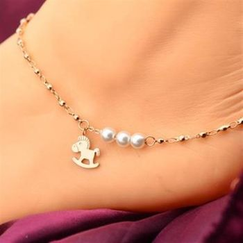 【米蘭精品】玫瑰金腳鍊珍珠銀飾可愛木馬時尚71ak17