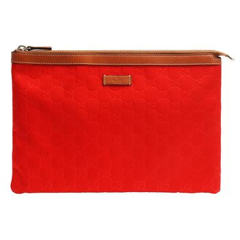 GUCCI 經典Guccissima GG壓紋尼龍帆布牛皮飾邊拉鍊手拿iPad包(大-紅)