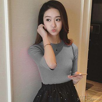 【A1 Darin】韓版最新荷葉五分袖彈力顯瘦中長版針織上衣
