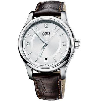 Oris Classic Date 都會機械腕錶-銀x咖啡/36mm 0173375784031-0751810