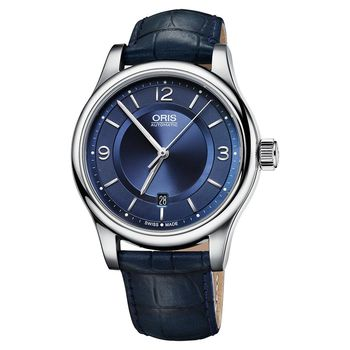 Oris Classic 經典大三針機械腕錶-藍/42mm 0173375944035-0752085