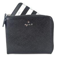 agnes b.星星logo防刮L拉鍊零錢夾(附鍊證件夾)(黑)