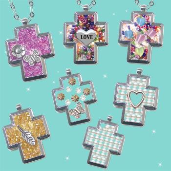 【HEMAKING】潘朵拉月光寶盒閃亮水鑽幸運草項鍊潘朵拉月光寶盒十字項鍊(7款/任選)