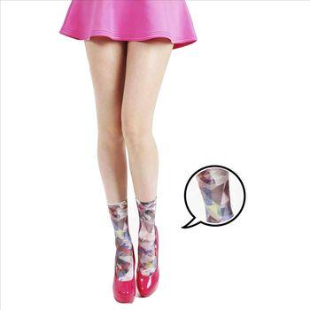 【摩達客】英國進口義大利製Pamela Mann萬花筒印花圖紋彈性短襪/腳踝襪