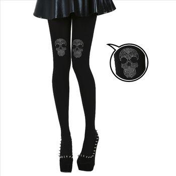 【摩達客】英國進口義大利製Pamela Mann膝蓋骷髏圖紋彈性褲襪