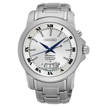 SEIKO Premier 羅馬萬年曆腕錶-銀/42mm 6A32-00X0J(SNQ145J1)