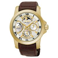 SEIKO Premier 人動電能月相腕錶-金框x咖啡/41mm 5D88-0AG0K(SRX014J1)