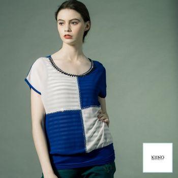【KIINO】色塊併接垂肩圓領假兩件上衣3851-1047